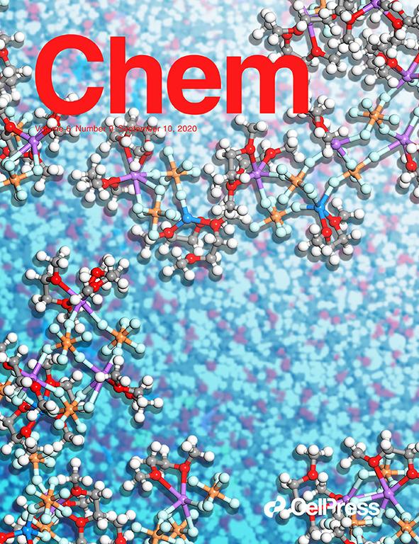 图3  电解液阳离子添加剂设计工作被选为2020年9月10日出版的《化学》(Chem)封面,寓意电解液中各组分相互作用对金属沉积行为的调控过程